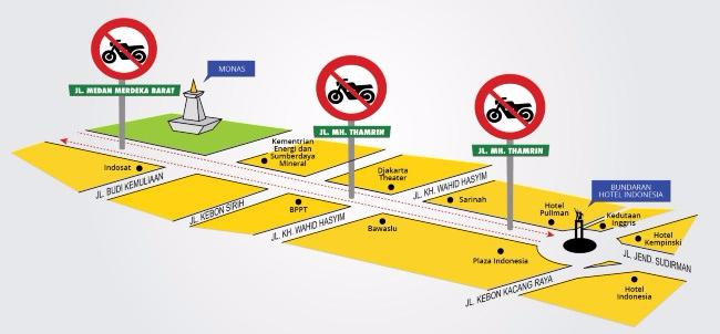 Jalur bebas Sepeda motor tahun 2014, yang saat ini diperluas hingga Bundaran Patung Senayan